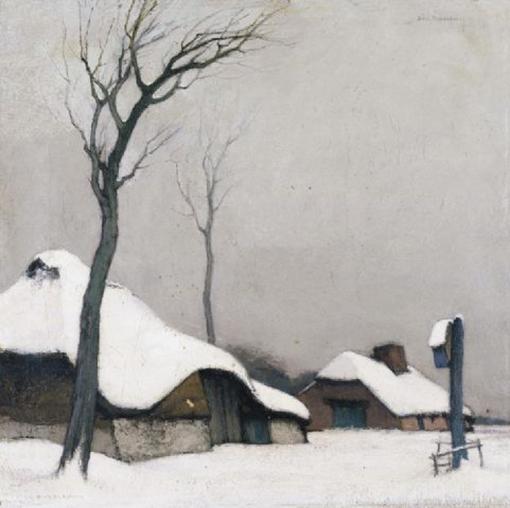 1Dirk Baksteen (Belgian, 1886-1971) ~ Hoeve in de Sneeuw