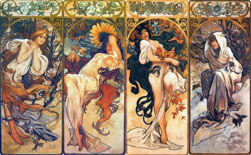 2Alphonse Mucha. The Seasons, 1897