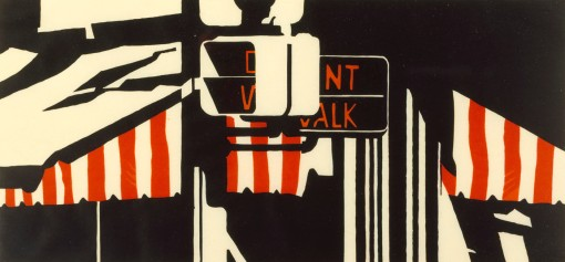039 1991 Don't Walk metal relief print 23.8 x 51.1 cm