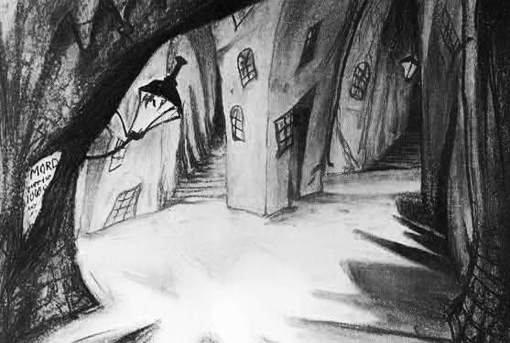 2Original sketch for a scene in The Cabinet of Dr Caligari from Lotte Eisner