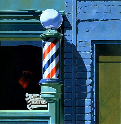 7.056 1988 Barber Shop oil on canvas 81.3 x 81.3 cm