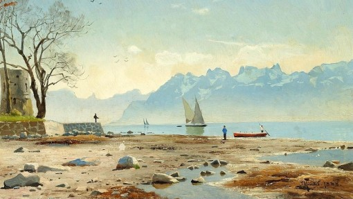 Peder_M_nsted_Springtime_at_Lac_L_man_in_Switzerland
